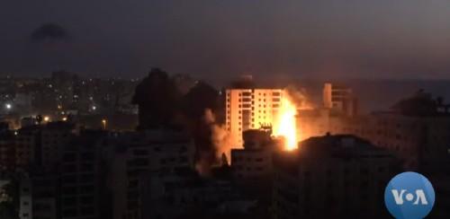 Israeli airstrike on Gaza, May 2021. Screenshot from Voice of America video (public domain).